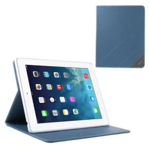 Krcase for iPad 2 3 4 Sand-like Texture Smart Leather Tablet Case w/ Stand & Card Slots - Blue