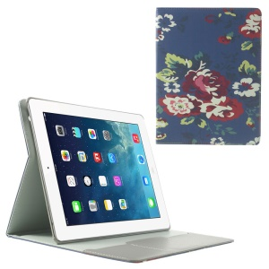 Blue Background Flowers Smart Leather Cover w/ Stand for iPad 2 3 4