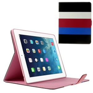 Colorized Stripes Litchi Skin Leather Smart Cover for iPad 2 3 4 - Black / White / Red