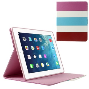 Colorized Stripes Litchi Skin Leather Smart Case for iPad 2 3 4 - Rose / White / Baby Blue