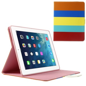 Colorized Stripes Litchi Skin Stand Leather Smart Case for iPad 2 3 4 - Orange / Dark Blue / Yellow
