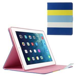 Colorized Stripes Litchi Skin Stand Leather Smart Cover for iPad 2 3 4 - Dark Blue / Yellow / Baby Blue