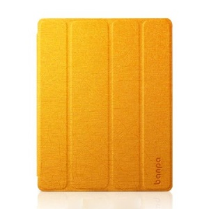 Banpa for iPad 2 3 4 Lines Leather Four-fold Stand Smart Case - Orange