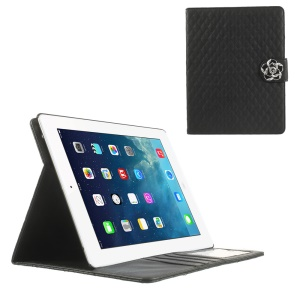 Black Diamond Camellia Magnetic Rhombus Smart Leather Wallet Cover w/ Stand for iPad 2 3 4