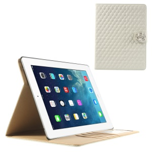 White Diamond Camellia Magnetic Rhombus Smart Leather Wallet Case w/ Stand for iPad 2 3 4