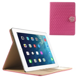 Rose for iPad 2 3 4 Diamond Camellia Magnetic Rhombus Smart Leather Stand Card Slot Case