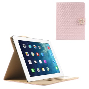 Pink for iPad 2 3 4 Diamond Camellia Magnetic Rhombus Smart Leather Stand Card Slot Case