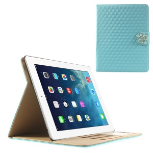 Blue for iPad 2 3 4 Diamond Camellia Magnetic Rhombus Smart Leather Wallet Cover w/ Stand