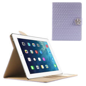 Purple for iPad 2 3 4 Diamond Camellia Magnetic Rhombus Smart Leather Wallet Case w/ Stand