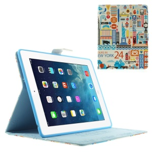 24 Hours in New York Folio Smart Leather Skin Case w/ Stand for iPad 2 3 4