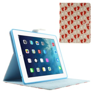 White & Red Footprints Wake Sleep Smart Leather Stand Cover for iPad 2 3 4