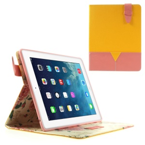 Matilanuo for iPad 2 3 4 Superb Two-tone Stand Leather Smart Case - Yellow / Pink