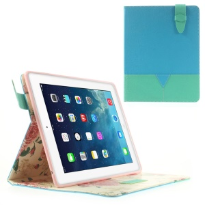 Matilanuo for iPad 2 3 4 Two-tone Stand Smart Leather Tablet Case - Blue / Cyan