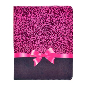 Leopard and Bowknot Durable PU Leather Smart Case with Stand for iPad 2 3 4