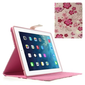 Five-leaf Flowers & Butterflies for iPad 2 3 4 Folio Stand PU Leather Smart Case