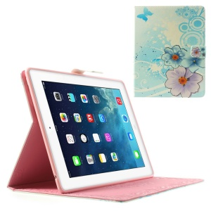 Blue & Purple Flowers Smart PU Leather Skin Case with Stand for iPad 2 3 4