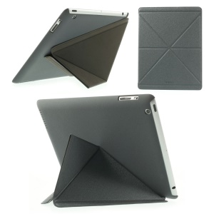 Grey SAMDI Sand-like Texture Smart Leather Origami Case w/ Stand for iPad 2 3 4