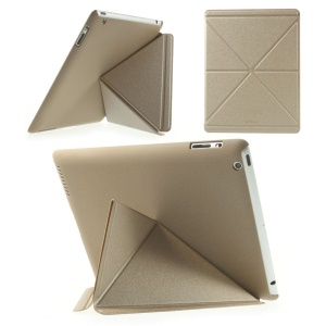 Champagne Gold SAMDI Sand-like Texture Smart Leather Origami Cover w/ Stand for iPad 2 3 4
