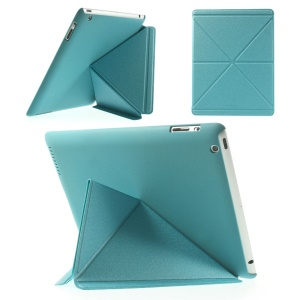 Baby Blue SAMDI Sand-like Texture Origami Stand Leather Smart Case for iPad 2 3 4