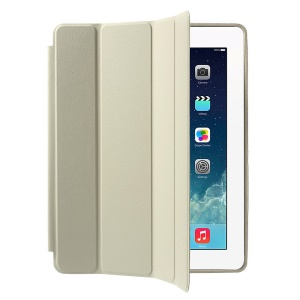 Four-fold Leather Smart Case for iPad 2 3 4 with 2-way Kickstand - White