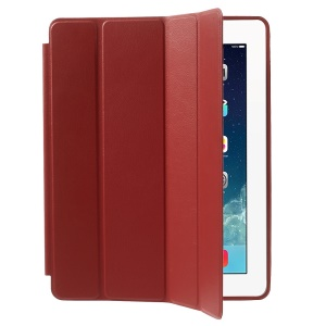 Four-fold Leather Smart Cover for iPad 2 3 4 w/ 2-way Kickstand - Red