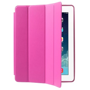 Four-fold Leather Smart Case for iPad 2 3 4 w/ 2-way Kickstand - Rose