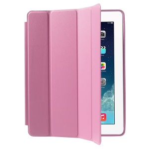 Four-fold Leather Smart Case for iPad 2 3 4 w/ 2-way Kickstand - Pink
