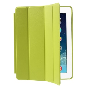 Four-fold Leather Smart Case Shell for iPad 2 3 4 w/ 2-way Kickstand - Green