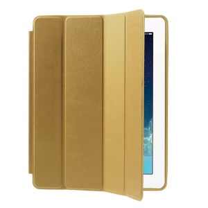Four-fold Leather Smart Case for iPad 2 3 4 w/ 2-way Kickstand - Gold