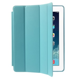 Four-fold Leather Smart Case for iPad 2 3 4 w/ 2-way Kickstand - Baby Blue