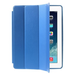 Four-fold Leather Smart Case for iPad 2 3 4 w/ 2-way Kickstand - Dark Blue