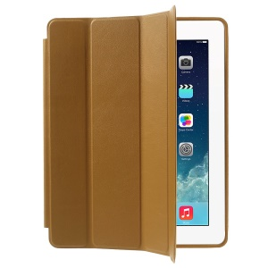 Four-fold Leather Smart Cover for iPad 2 3 4 w/ 2-way Kickstand - Brown