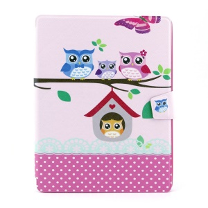 Owl Family 360 Degree Rotary Smart Leather Case w/ Card Slots for iPad 2 3 4