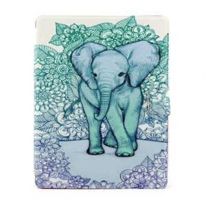 Blue Flowers and Elephant 360 Degree Rotary Smart Leather Cover w/ Card Slots for iPad 2 3 4