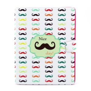 Funny Moustaches 360 Degree Rotary Smart Leather Shell w/ Card Slots for iPad 2 3 4