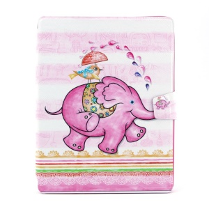 Elephant Playing with Little Bird 360 Degree Rotary Smart Leather Card Holder Case for iPad 2 3 4