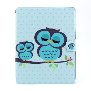 Sleeping Owls 360 Degree Rotary Smart Leather Card Holder Shell for iPad 2 3 4