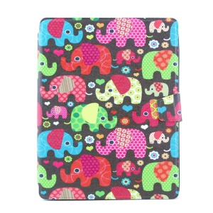 Colorful Elephants 360 Degree Rotary Smart Leather Card Holder Stand Shell for iPad 2 3 4