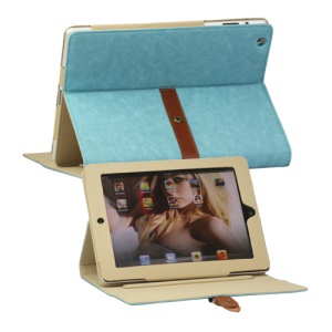 Stylish Stand Leather Case with Belt and Brass Buckle for The New iPad 3rd Gen - Blue