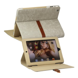 Stylish Leather Stand Case with Belt and Brass Buckle for iPad 4th 3rd 2nd Gen - Grey