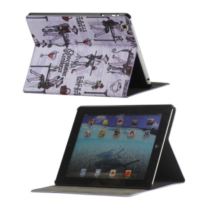 Fashion Lady PU Leather Stand Case Smart Cover for iPad 2 3 4 - Purple