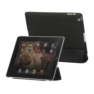 Slim Leather Smart Cover with Stand for iPad 2nd 3rd 4th Gen - Black