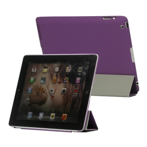 Slim Leather Smart Cover with Stand for iPad 2nd 3rd 4th Gen - Purple