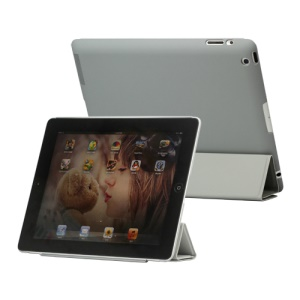 Slim Leather Smart Cover with Stand for iPad 2nd 3rd 4th Gen - Light Grey