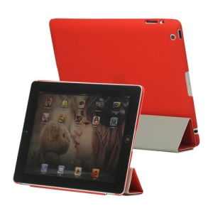 Slim Leather Smart Cover with Stand for iPad 2nd 3rd 4th Gen - Red