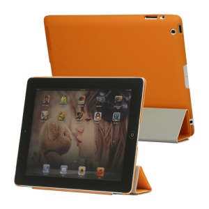 Slim Leather Smart Cover with Stand for iPad 2nd 3rd 4th Gen - Orange