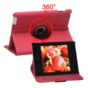 360 Degree Rotating Folio Canvas Stand Case with Stylus for iPad 2nd 3rd 4th Generation - Rose