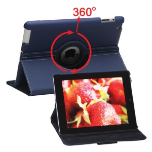 360 Degree Rotating Folio Canvas Stand Case with Stylus for iPad 2nd 3rd 4th Generation - Blue