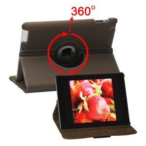 360 Degree Rotating Folio Canvas Stand Case with Stylus for iPad 2nd 3rd 4th Generation - Brown