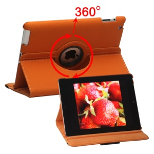 360 Degree Rotating Folio Canvas Stand Case with Stylus for iPad 2nd 3rd 4th Generation - Orange